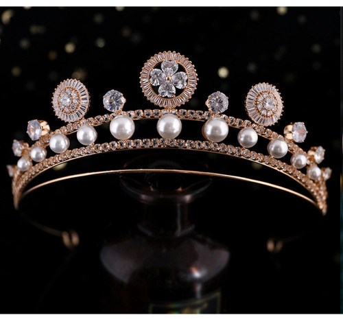 F-0852 Luxury Bridal Pearl Headband Shiny Crystal Rhinestones Gold Silver Tiara Queens Princess Crown for Women Girls Wedding Birthday Jewelry