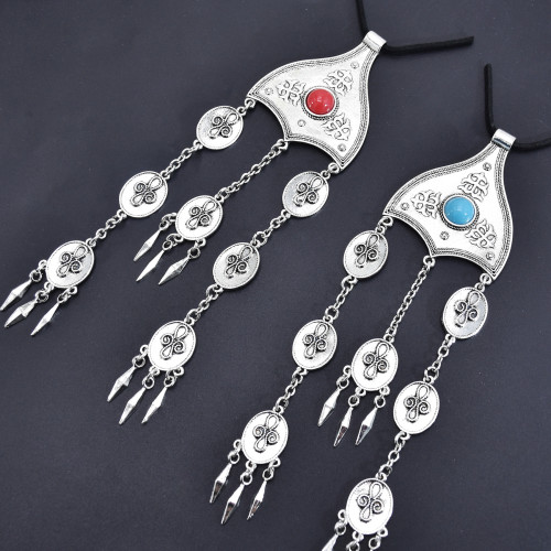 F-0853 Bohemian Vintage Metal turquoise Tassel Statement Hair Clips Party Indian Jewelry Hair Accessories