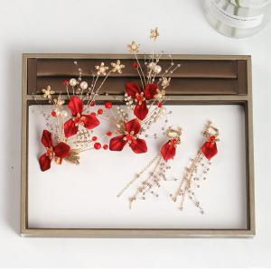 F-0817  Handmade Red Flower Hairpins & Earrings Sets Bridal Headpiece Wedding Hair Jewelry Accessories