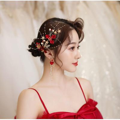 F-0817  Handmade Red Flower Hairpins & Earrings Sets Bridal Headpiece Wedding Hair Jewelry Accessories