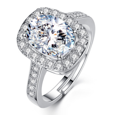 R-1539 Sparkly Rhinestone Rings for Women Adjustable Silver Rings for Engagement Jewelry Gift
