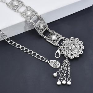 N-7469 Bohemian Vintage Silver Tassel Bells Body Chain for Women Indian Ethnic Dance Waist Chain