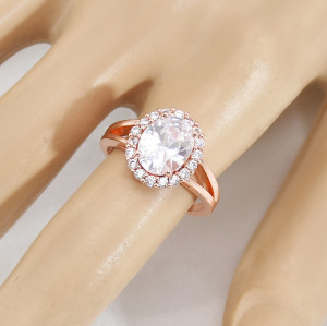 R-1541 Rose Gold Rings for Women Sparkly Rhinestone Rings for Engagement Jewelry Gift