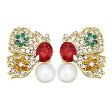 E-6024 Cute Butterfly Crystal Pearl Stud Earrings for Women Girl Wedding Party Jewelry Gift