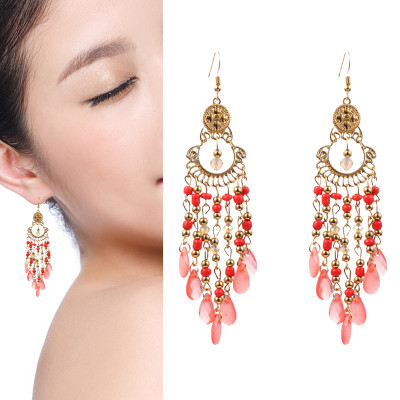 E-6025 Fashion Bohemian Personality Beaded Tassel Exaggerated Crystal Teardrop Earrings For Woman Girls Party Jewelry