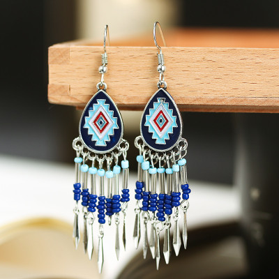 E-6029 Fashion bohemian personality beaded tassels exaggerated rice bead earrings women wedding party jewelry gifts