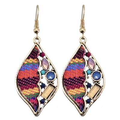E-6028 Ethnic Bohemian Rhinestone Rope Woven Drop Dangle Earrings for Women Festival Party Jewelry Gift