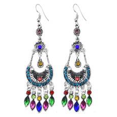 E-6032 Vintage Bohemian Ethnic Dangle Earrings for Women Colorful Rhinestone Tassel Gypsy Earrings