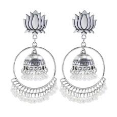 E-6034 Vintage Silver Alloy Lotus Pearl Tassel Drop Dangle Earrings for Women Bohemian Indian Party Jewelry
