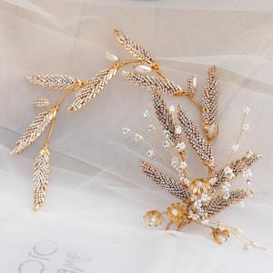 F-0855 Bridal Hairpiece Hair Accessories with Earrings Rhinestone Gold Leaf Headband for  Wedding Birthday