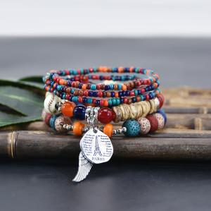 B-1096 5Pcs/Set Bohemian Acrylic Beads Wings Tassel Statement Bracelets for Women Ethnic Party Jewelry