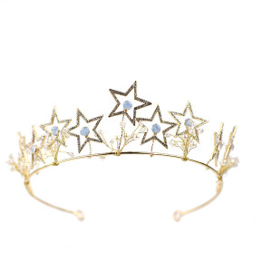 F-0856 Romantic Crystal Pearl Star Shape Crowns & Earrings Sets for Women Bridal Wedding Hair Accessories