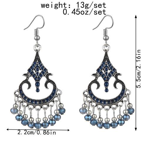 E-6037 Fashion Vintage Bohemian Ethnic Dangle Earrings for Women Colorful Rhinestone Tassel Gypsy Earrings