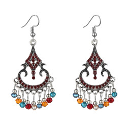 E-6037 Fashion Vintage Bohemian Ethnic Dangle Earrings for Women Colorful Rhinestone Tassel Gypsy Earrings