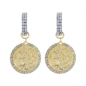 E-6040 New Ins Gold Silver Alloy Portrait Relief Baroque Rhinestone Earrings for Women Lady Wedding Party Jewelry