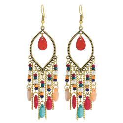 E-6041 Bohemian Beaded Tassel Dangle Earrings for Women Colorful Rhinestone Tassel Drop Earrings