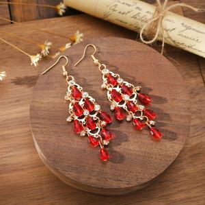 E-6042 Bohemian Personality Beaded Tassel Exaggerated Crystal Teardrop Earrings For Women Girls Party Jewelry