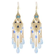 Vintage Gold Tassel Dangle Earrings for Women Colorful Beads Rhinestone Boho Tassel Drop Earrings