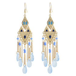 E-6043 Vintage Gold Tassel Dangle Earrings for Women Colorful Beads Rhinestone Boho Tassel Drop Earrings