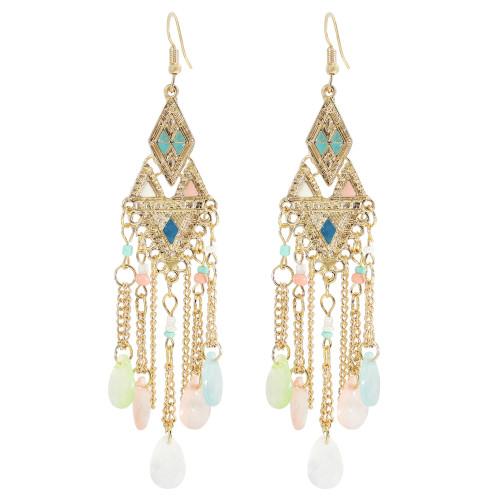 E-6043 Vintage Gold Tassel Dangle Earrings for Women Colorful Beads Rhinestone Boho Tassel Drop Earrings