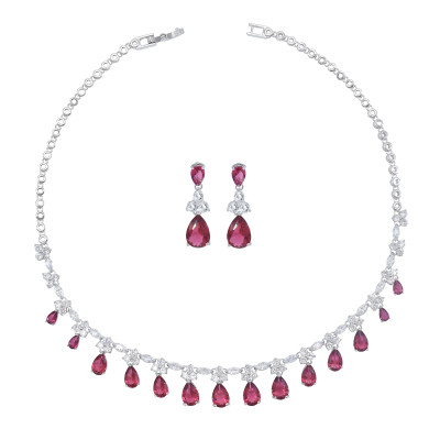 N-7471 Luxury White Gold Plated Red Zircon Necklaces Earring Sets Bridal Wedding Party Jewelry Sets