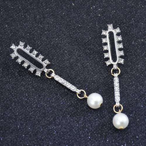 E-6046 Fashion Gold Plated Geometric Bridal Korean Crystal Earring Custom Diamond Sterling Silver Zircon Stud Earrings
