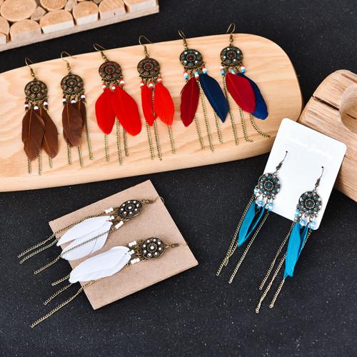 E-6047 Ethnic Bohemian Feather Drop Earrings for Women Resin Beads Long Tassel Earring Party Jewelry Gift