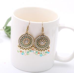 E-6049 Ethnic Boho Style Earrings Women's Resin Beads Long Tassel Earrings Party Jewelry Gifts