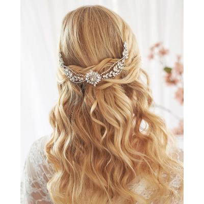 F-0859 Exquisite Bridal Crystal Tiaras Crown with Comb Women Headband Wedding Hair Accessories