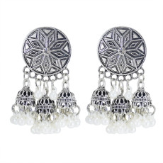 E-6051 Vintage Gold Silver Alloy Lotus Pearl Tassel Drop Dangle Earrings for Women Bohemian Indian Party Jewelry