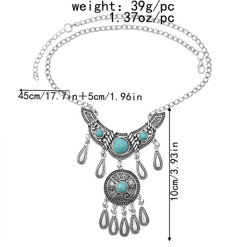 N-7473 Vintage Silver Metal Geometric Turquoise Red Blue Stone Pendant Necklaces for Women Bohemian Party Jewelry Gift