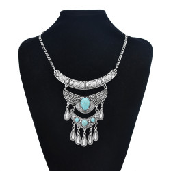 N-7473 2 Styles Vintage Silver Metal Geometric Turquoise Pendant Necklaces for Women Bohemian Party Jewelry Gift