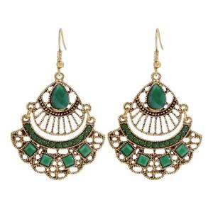 E-6054 Vintage multicolor alloy tassel dangle earrings, suitable for bohemian Indian party women's jewelry