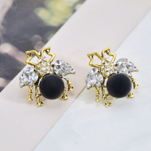 E-6057 Personalized Women Simple Gold Plating Bee Stud Earring Micro Pave Cubic Zirconia CZ Bee Stud Earring
