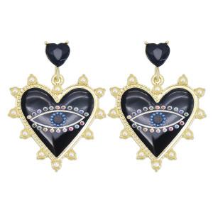 E-6060 Fashion Evil Eye Heart Dangle Earrings for Women Girls Colorful Rhinestone Imitation Pearls Stud Earrings