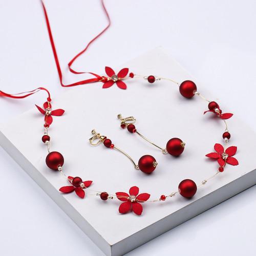 F-0862 Fashion hot sale red pearl flower headband earrings set toast dress headdress bridal jewelry