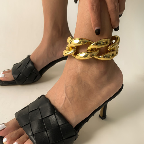 B-1099 Gold Silver Chunky Link Chain Anklet for Women Girls
