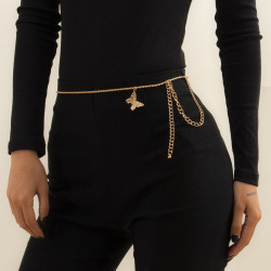 N-7475 Butterfly Pendant Waist Chain  for Women Gold Silver Body Chain Minimalist Body Belt Dance Party
