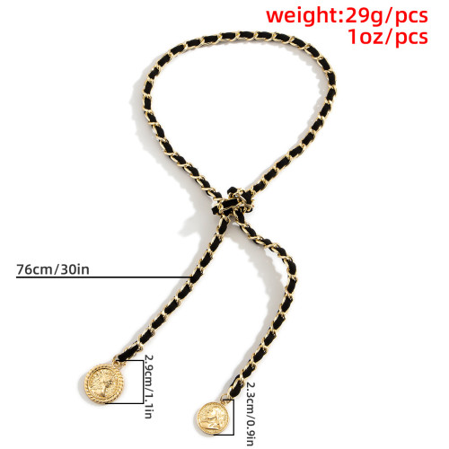 N-7476 Punk Twisted Velvet Long Chain Choker Necklace Women Coins Pendant Necklaces Summer Party Jewelry