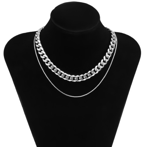 N-7477 Personalized Double Necklace Sports and Leisure Style Clavicle Chain Metal Thick Necklace Simple Short Chain