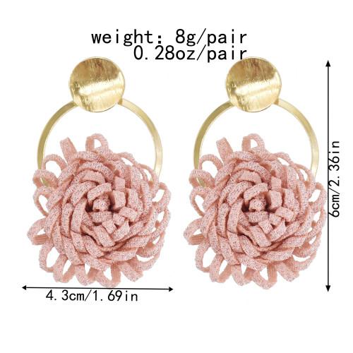 E-6067 European and American exaggerated three-dimensional handmade tassel simulation circle flower earrings