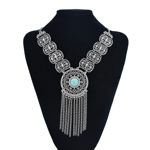 N-7482 Bohemian Gems Hollow Tassel Necklace Fashion Atmosphere Inlaid Ethnic Party Jewelry