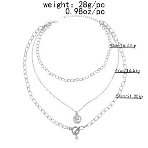 N-7486 Punk Silver Color Multilayers Long Chain Women Hip Hop Coin Bells Pendant Necklaces Party Jewelry
