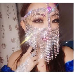 N-7489 Rhinestone Masquerade Bling Mask Face Chain  Fringe Metal Crystal  Head Facing Chain Female Prom Show Belly Dance Stage Cosplay