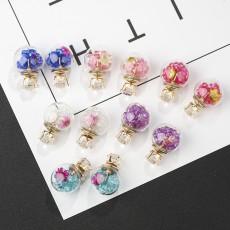 E-6072 Glass Ball Ear Stud Rhinestone Flower Double Face Stud Earrings for Girls