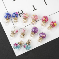 E-6072 Glass Ball Ear Stud Rhinestone Flower Double Face Stud Earrings for Girls