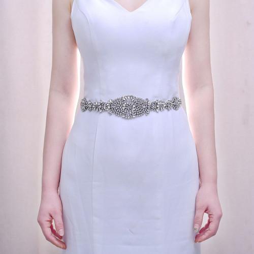 N-7495 Wedding Accessories Crystal Wedding Belt Satin Rhinestone Evening Prom Dress Belt Bridal Ribbon Sash Bridesmaids Women