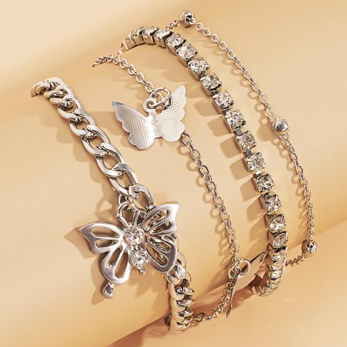 B-1104 4Pcs/Set Rhinestone Butterfly Metal Link Chain Anklets for Women Foot Bracelet Summer Beach Jewelry