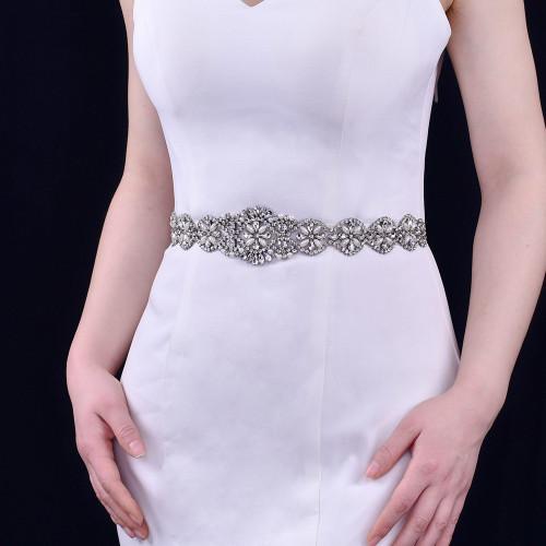 N-7499 Crystal wedding belt hair accessories dual-use satin surface rhinestone bridal satin ribbon S waist belt wedding accessories prom dress accessories