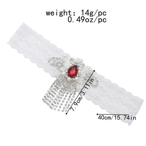 N-7500 New Design Ruby Crystal Bridal Garters Rhinestone White Lace Garters for Wedding Accessories